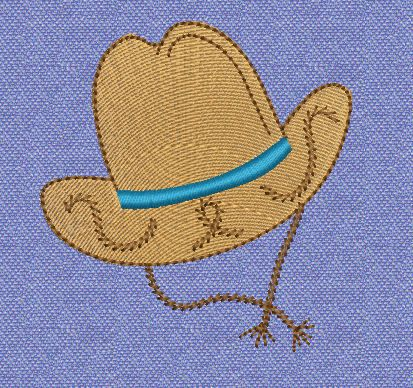 Free cowboy hat machine embroidery design