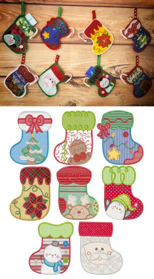 Sweet Christmas Stockings Applique Machine Embroidery Designs By JuJu