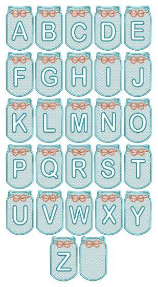 Mason Jar Embossed Alphabet