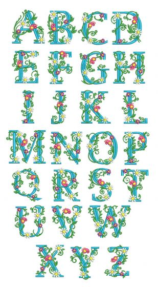 Floral Monogram Non Split Version Alphabet Designs by JuJu Machine Embroidery Designs