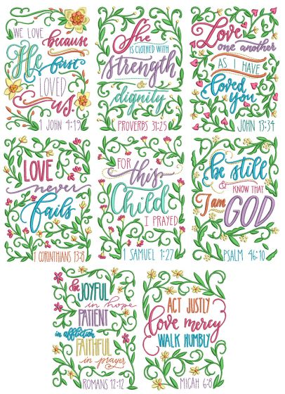 Floral Scriptures Machine Embroidery Designs By JuJu