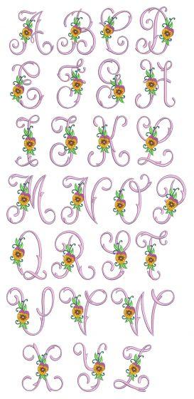 Pansy Monogram Machine Embroidery Designs By JuJu