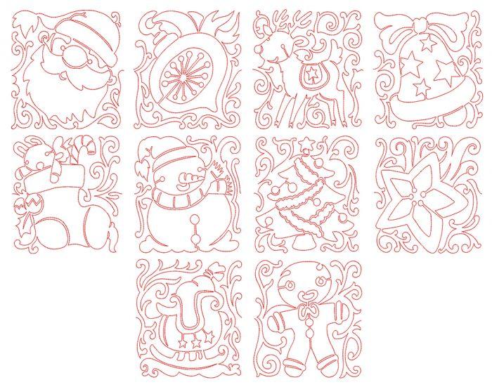 Free Motion Christmas Blocks Machine Embroidery Designs by JuJu