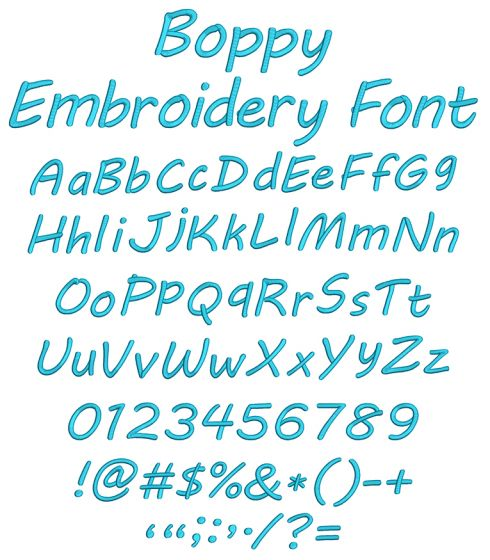 Boppy Embroidery Font