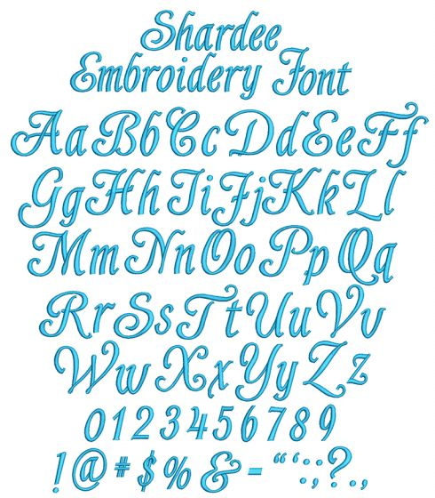 Shardee Embroidery Font