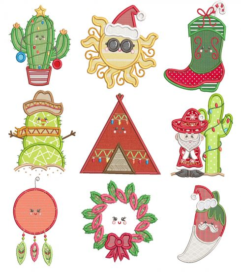 Southwest Christma Applique Machine Embroidery Designs By JuJu