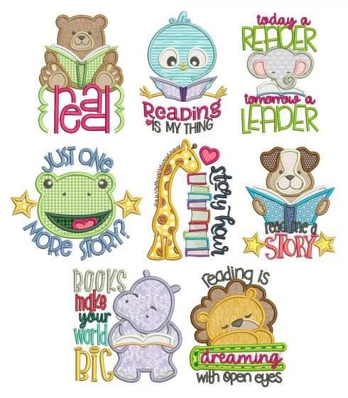 Story Time Applique Machine Embroidery Designs by JuJu Reading Pillow Designs