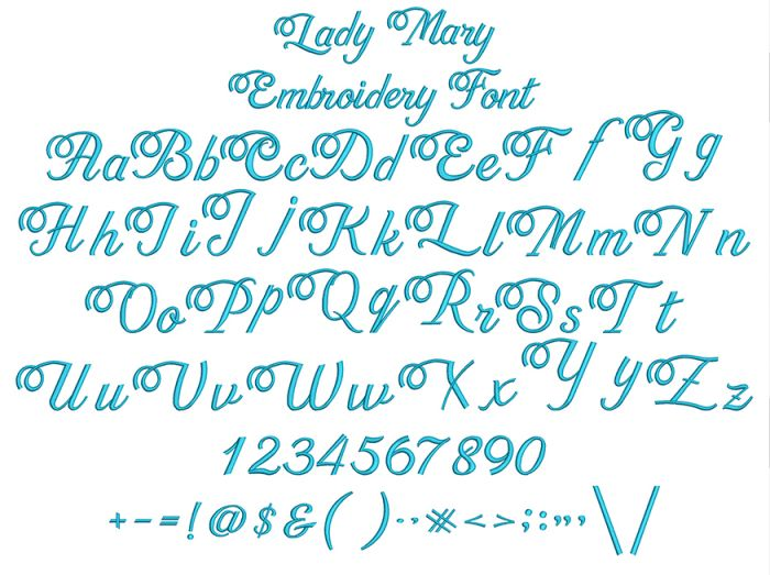 Lady Mary Embroidery Font
