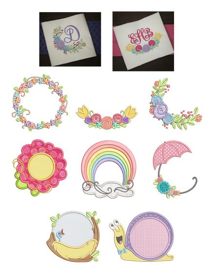 Spring Monogram Frames Machine Embroidery Designs By JuJu