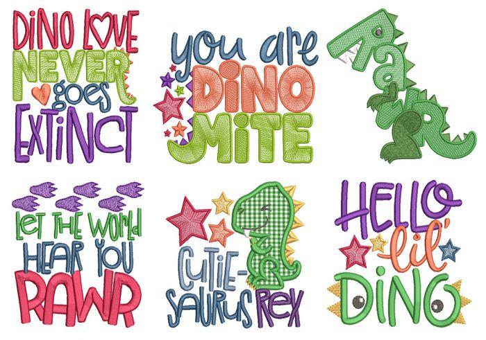 Dino Word Art Machine Embroidery Designs by JuJu
