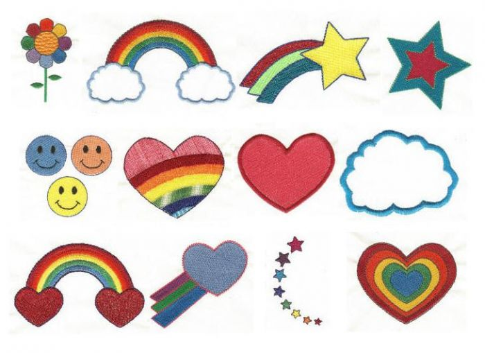 rainbow filled machine embroidery designs