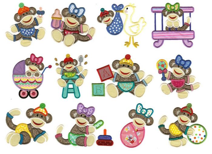 Sock monkey baby applique machine embroidery designs.