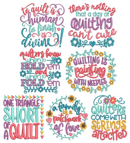 Quilting Word Art 2 Machine Embroidery Designs By JuJu