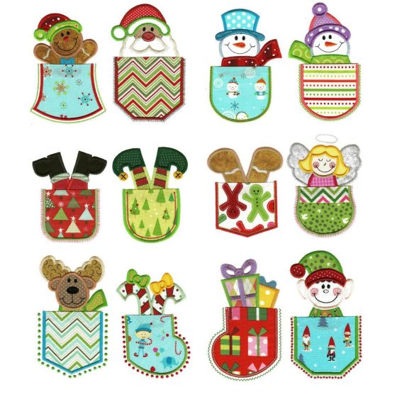 Christmas pockets applique machine embroidery designs