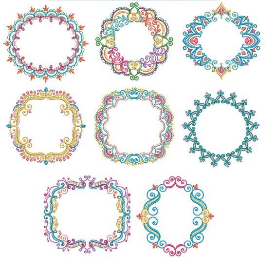Mehndi Monogram Frames Set 2 Machine Embroidery Designs By JuJu