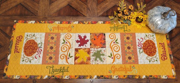 In The Hoop Fall Table Runner 1 Digital Machine Embroidery Designs by JuJu