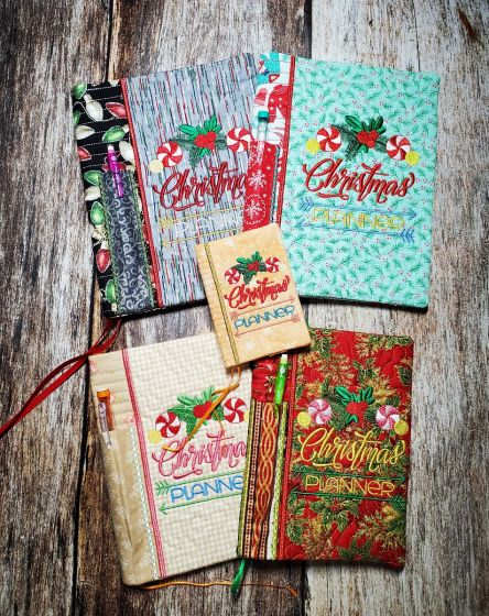 Designs by JuJu Machine Embroidery Designs In The Hoop Christmas Notebook Covers Christmas Planner