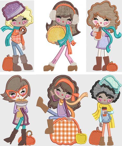 Pumpkin Spice Girls Digital Machine Embroidery Designs by JuJu