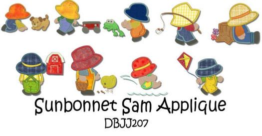 Sunbonnet Sam Applique 4x4 and 5x7