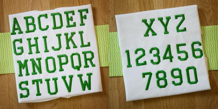 Collegiate Embroidery Font Designs by JuJu