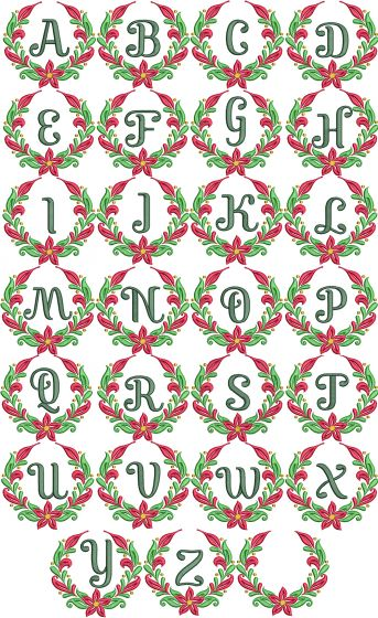 Christmas Wreath Monogram Machine Embroidery Designs By JuJu