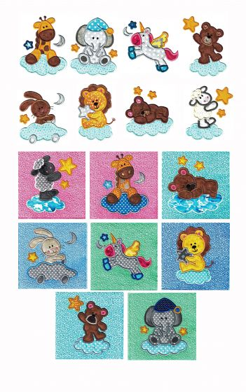 Sleepy Time Critters Applique Set 2 Machine Embroidery Designs by JuJu