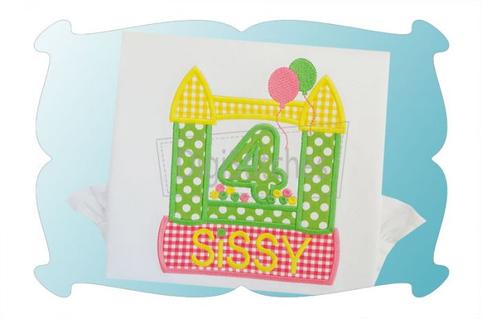 Bounce House Birthday Numbers Applique