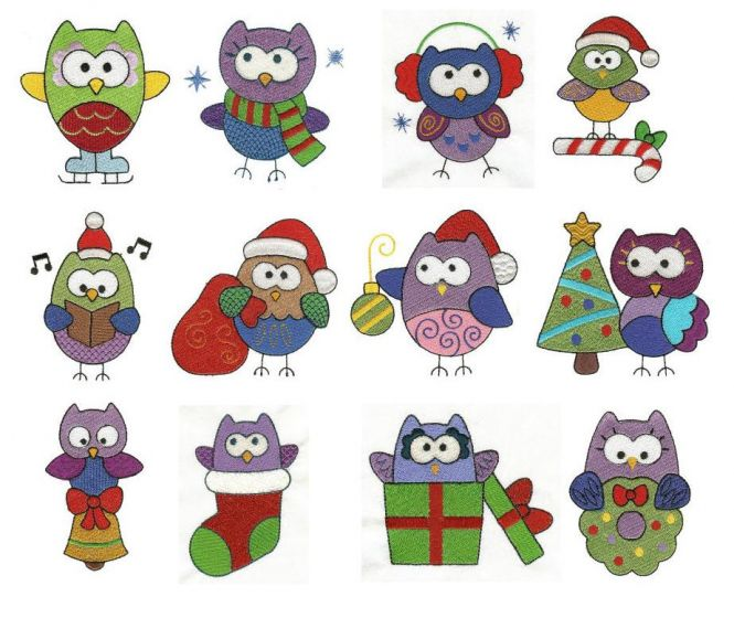 christmas holiday owls filled machine embroidery designs