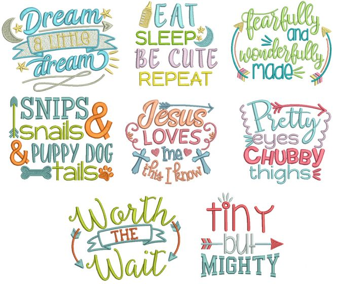 Baby Word Art Set 2 Machine Embroidery Designs by JuJu