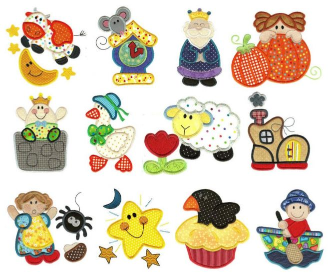 Nursery rhymes applique jumbo machine embroidery designs set 1