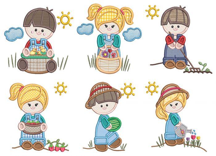 Gardening Kids Applique