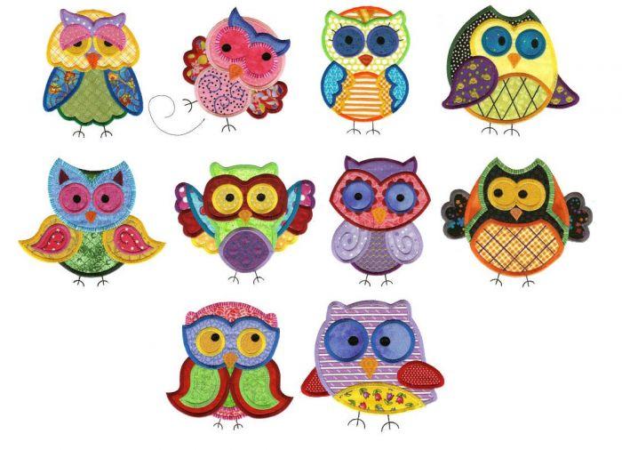Jumbo hoot and half owl applique machine embroidery designs set 2