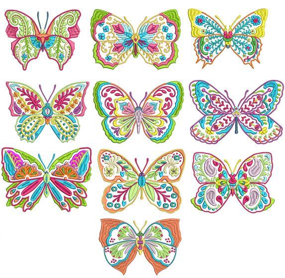 Ornamental Butterflies Machine Embroidery Designs by JuJu