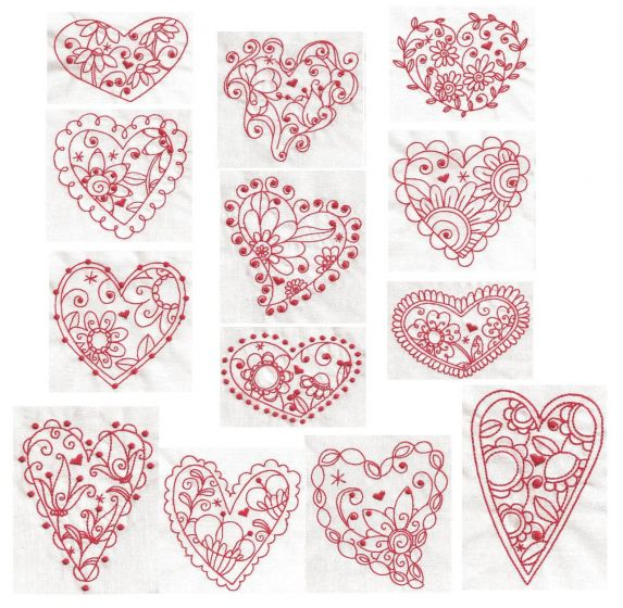 Floral redwork hearts machine embroidery designs