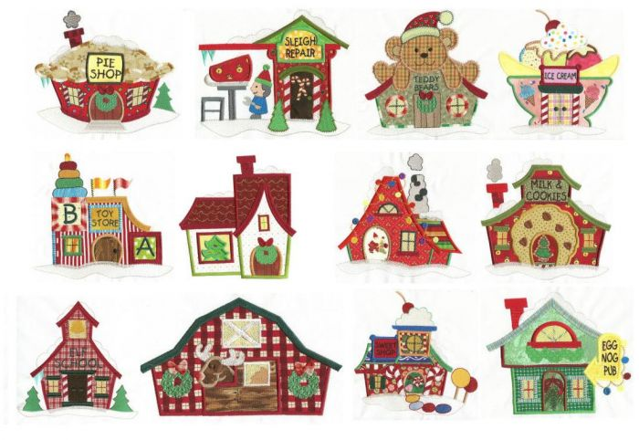 Jumbo North Pole Village Applique Set 1