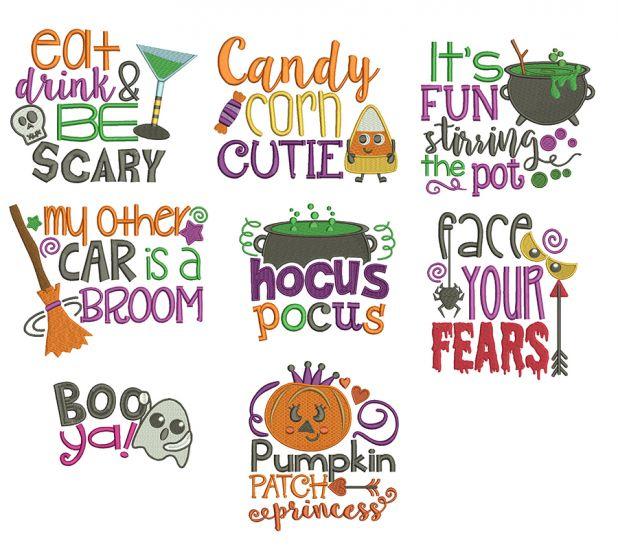 Halloween Word Art Set 2 Machine Embroidery Designs by JuJu