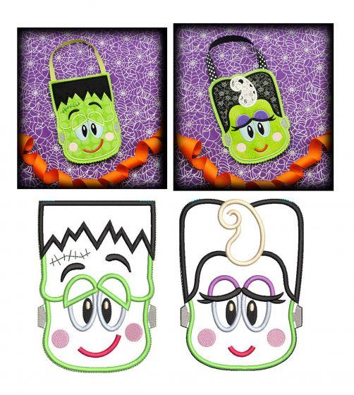 Halloween Treat Bags In The Hoop Designs by JuJu Frankenstein Bride of Frankenstein machine embroidery designs applique
