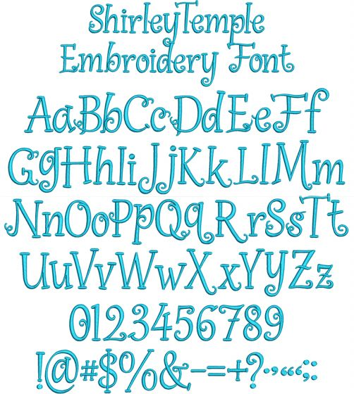 Shirley Temple Embroidery Font Machine Embroidery Designs by JuJu
