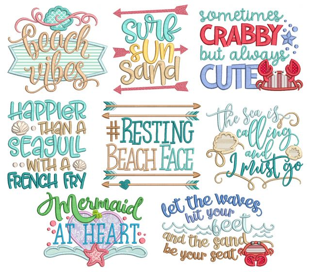 Beach Word Art Machine Embroidery Designs By JuJu