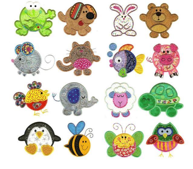 Round animals applique machine embroidery designs