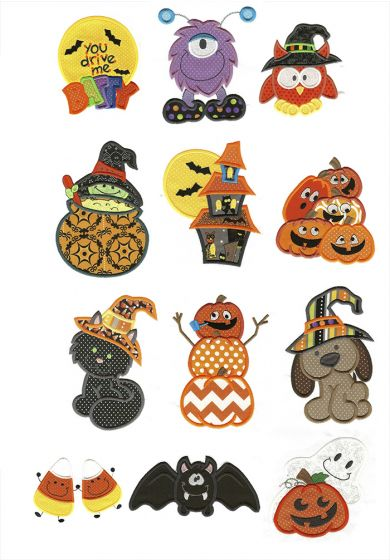 Twelve cute halloween applique machine embroidery designs.