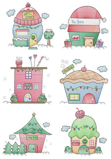 Christmas Village Vintage Sketch 4