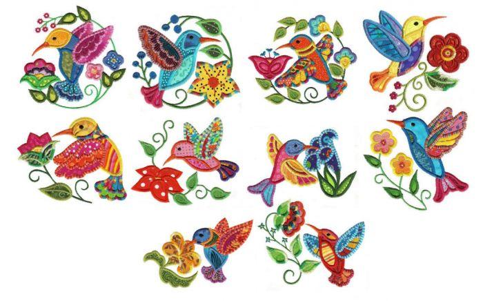 Jacobean hummingbirds applique machine embroidery designs