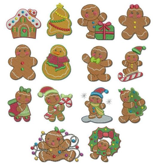Itty bitty mini gingerbread filled machine embroidery designs