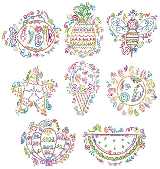 Summer Doodles Machine Embroidery Designs By JuJu
