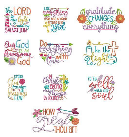 Soulful Sayings Set 2 Christian Machine Embroidery Designs by JuJu