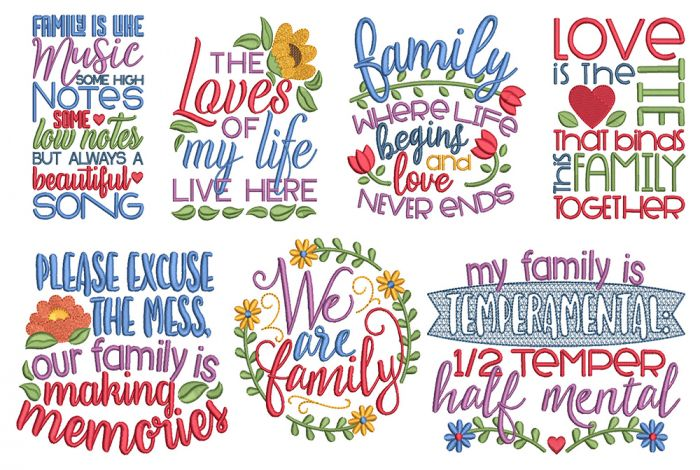 Family Word Art 3 Machine Embroidery Designs By JuJu