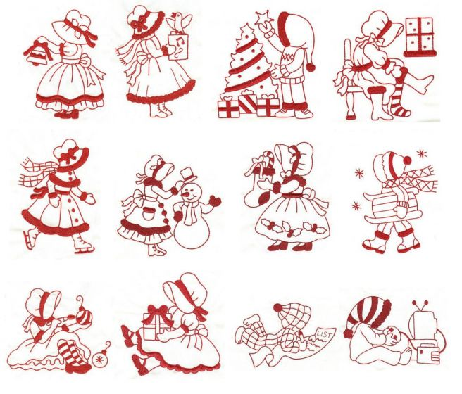 A Very Merry Sunbonnet Christmas Redwork
