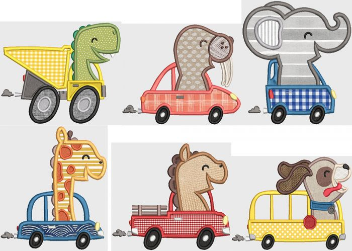 Road Tripping Animals Digital Machine Embroidery Designs by JuJu