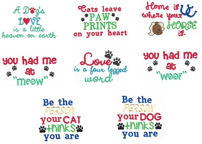 Pet Sayings Set 1 Machine Embroidery Designs by JuJu
